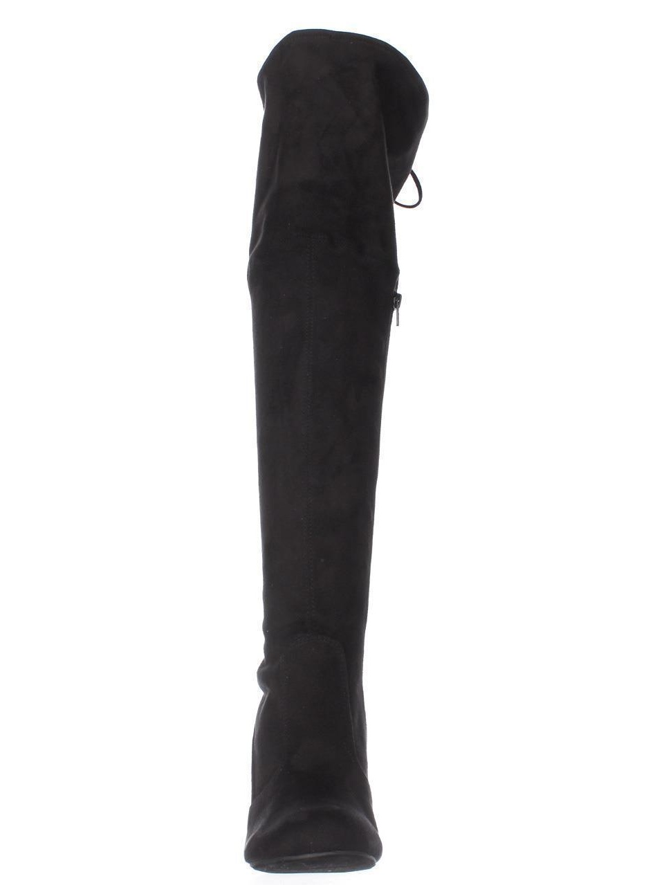 Stretch Suede Thigh High Block High Heel Boots With Tie Up Back Detail BE44