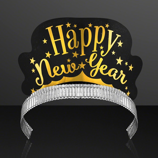 Happy New Year Paper Crown Non Light Up Tiara Pack of Six by Blinkee