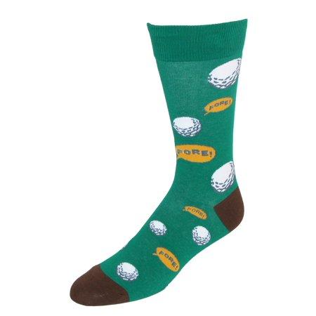 Size one size Men's Golf Theme Dress Socks, Green](Golf Theme)