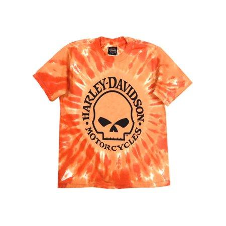 Harley-Davidson Little Boys' Skull Logo Swirl Tie-Die T-Shirt, Orange 1570749, Harley - Harley Pajamas