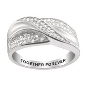Personalized Women's Sterling Silver or Gold over Sterling Engraved Crossover CZ Ring
