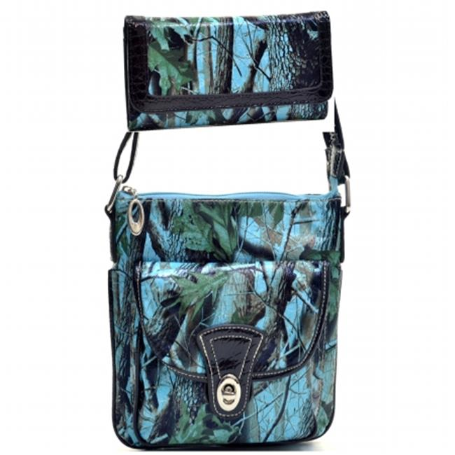 Ritz Enterprises MS101SET-TQ Western Camouflage Crossbody Messenger Bag Purse With Matching Wallet - Turquoise
