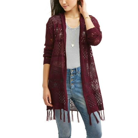 Moral Fiber Juniors' Lightweight Pointelle Hooded Fringe Cardigan ...
