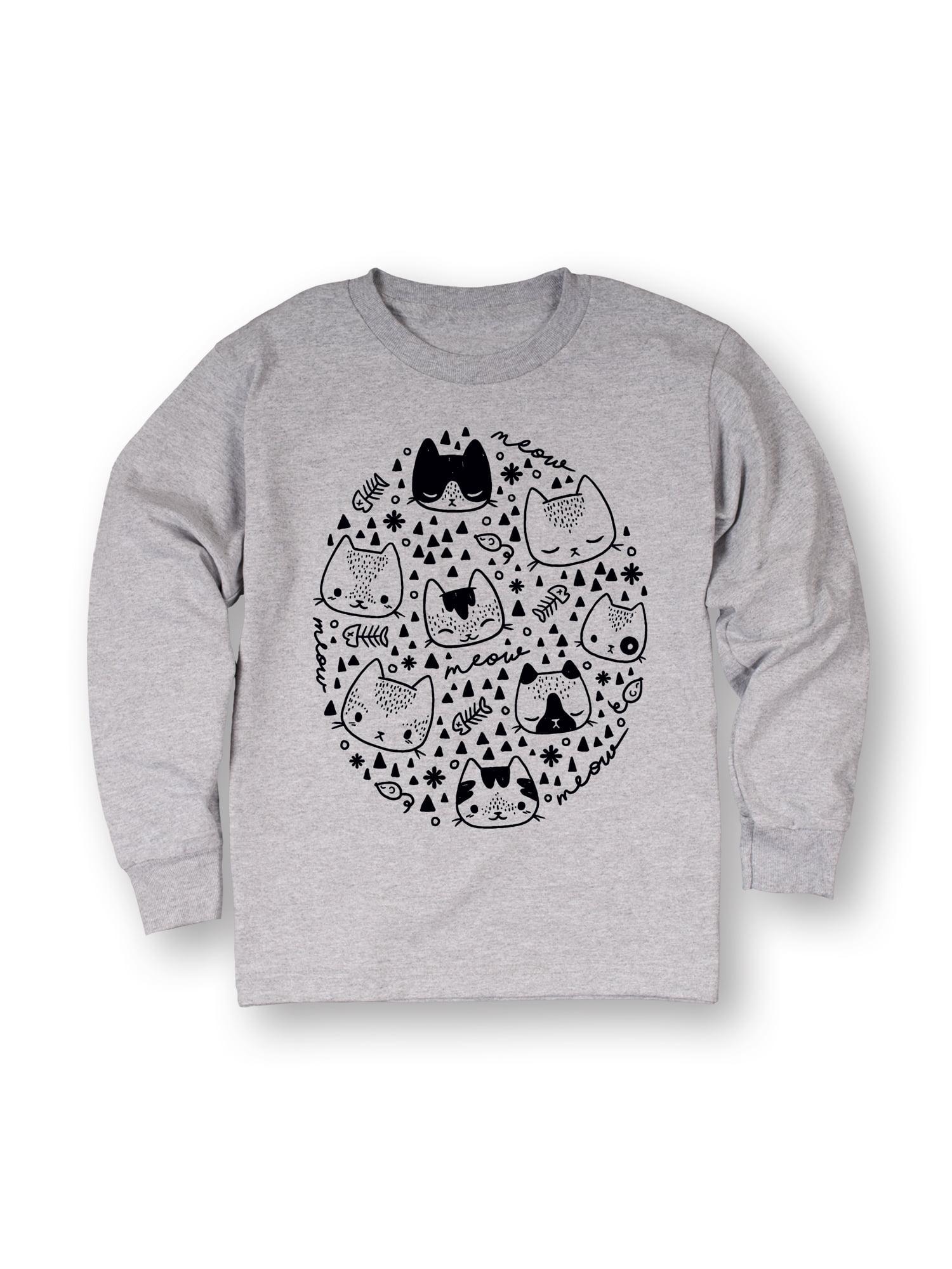 Cat Symbols Black Sketch-TODDLER LONG SLEEVE TEE
