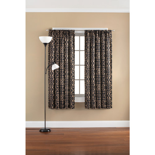 Mainstays Floral Damask Room Darkening Rod Pocket Polyester Curtain Panel