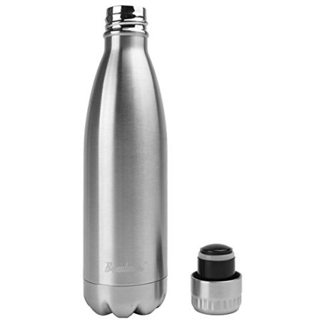 Bruntmor, 17 oz Double Wall Vacuum Insulated 18/10 Stainless Steel Water Bottle Cola Thermos Bottle Keeps cold up to 24 hours, hot up to 12 hours (17oz. 1 (17 Oz Vizio Vacuum Bottle)