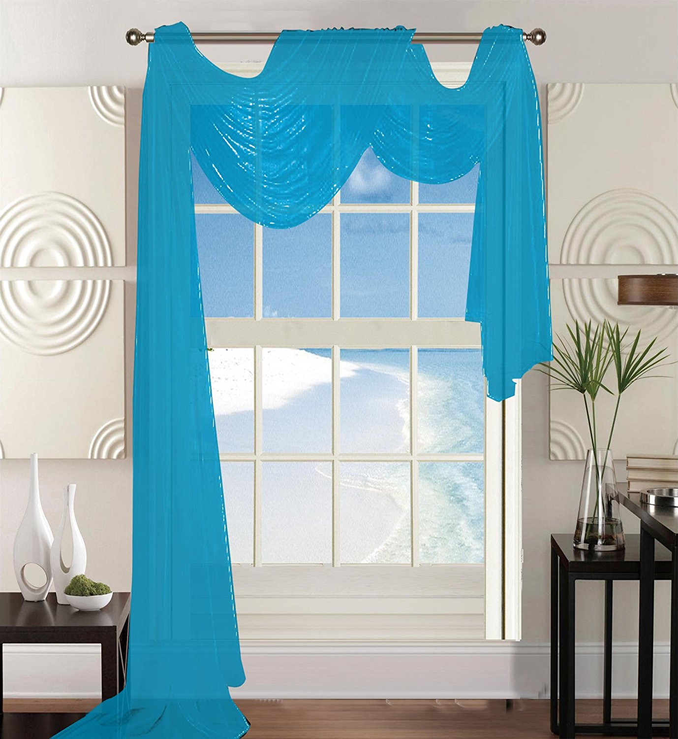 "Elegant Comfort Beautiful Window Panel Curtain Sheer Voile Scarf 55"" X 216"" Turqouise"