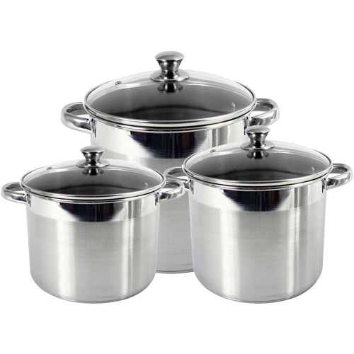 Heuck 3-Piece Encapsulated Bottom Stockpot with Glass Lid, Stainless Steel