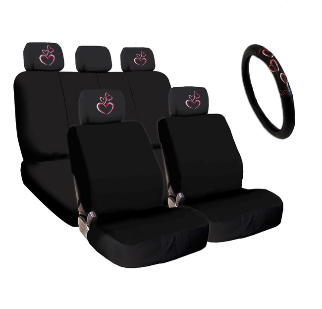 New Bundled 4X Large Pink Heart Logo Car Seat Headrest Covers Seat Covers And Steering Wheel Cover Accessory Universal Fit Shipping Included