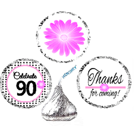 CakeSupplyShop Item#090BPH 90th Birthday / AnniversaryPink Black Polka Dot Party Favor Hershey Kisses Candy Stickers / Labels -216ct - Pink Polka Dot Party Decorations