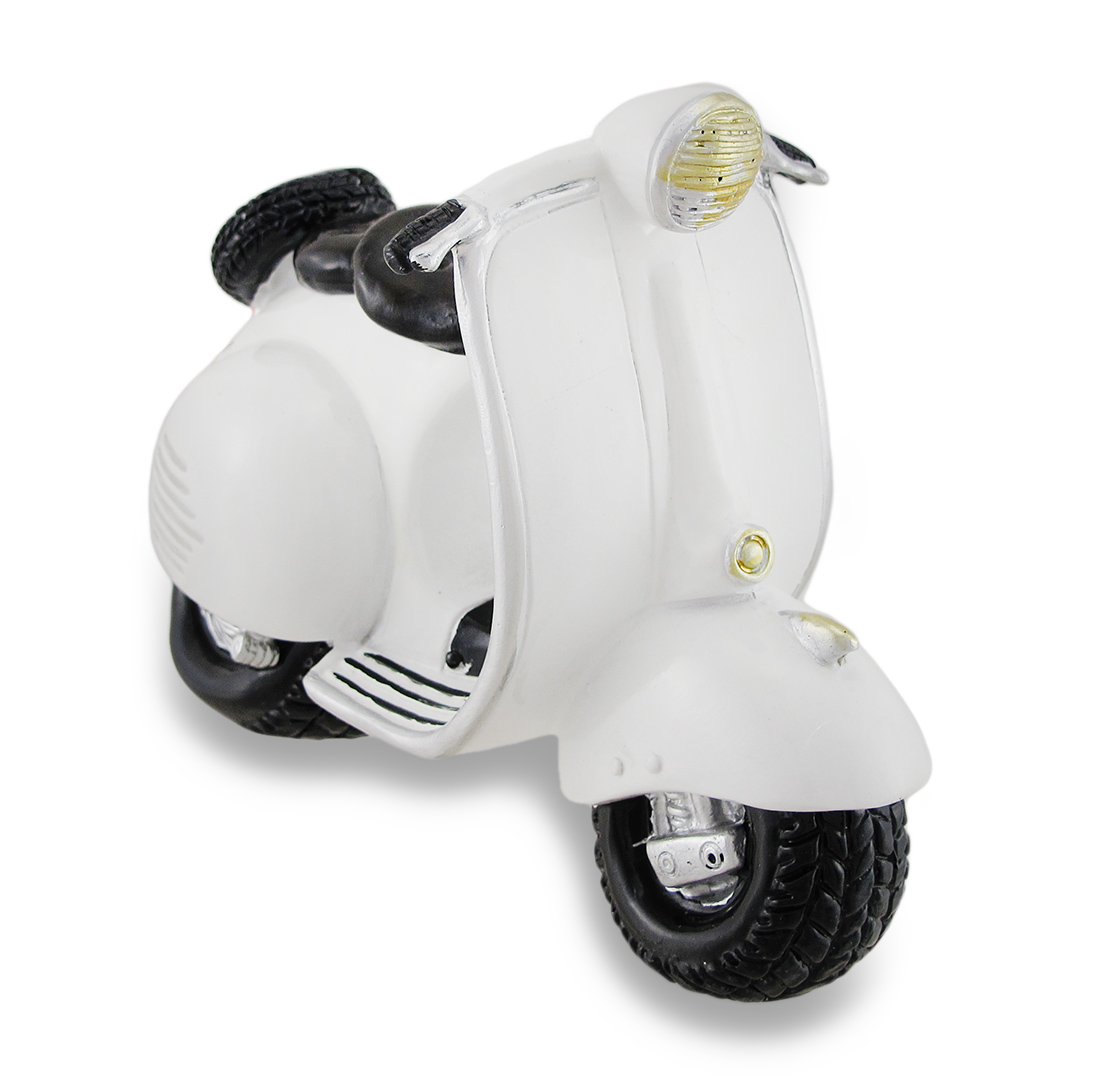 Classic White Vintage Style Vespa Scooter Coin Bank Piggy Bank by Turtle King Corporation