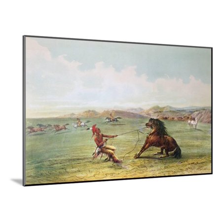 Osage Wood (Osage Hunters Catching Wild Horses Wood Mounted Print Wall Art By George Catlin)