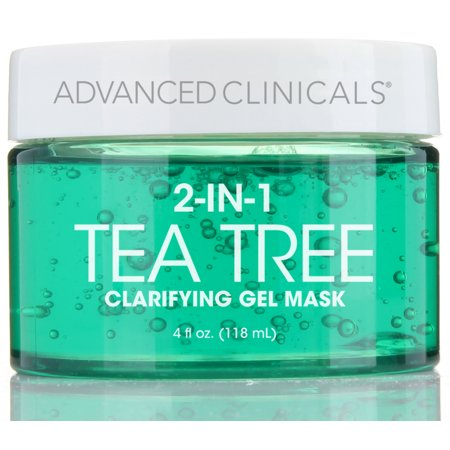 Advanced Clinicals Tea Tree Oil Mask. 2-in-1 overnight sleep mask w/ Tea Tree Oil, Witch Hazel & Grapefruit Extract for dry skin, T-zone oil control, clogged pores, congested skin 4 fl (Boots Tea Tree And Witch Hazel Review)