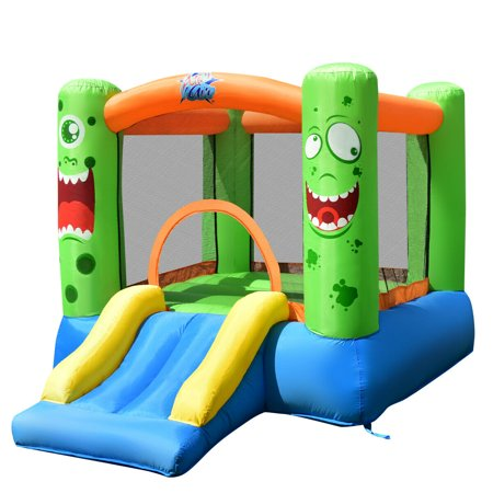 Costway Inflatable Castle Bounce House Jumper Kids Playhouse with Slider and 580W Blower (Inflatable Play Place)