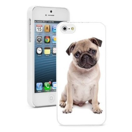 Dog Protector Case - Apple iPhone 6 6s Hard Color Back Case Cover Protector Cute Pug Puppy Dog (White)