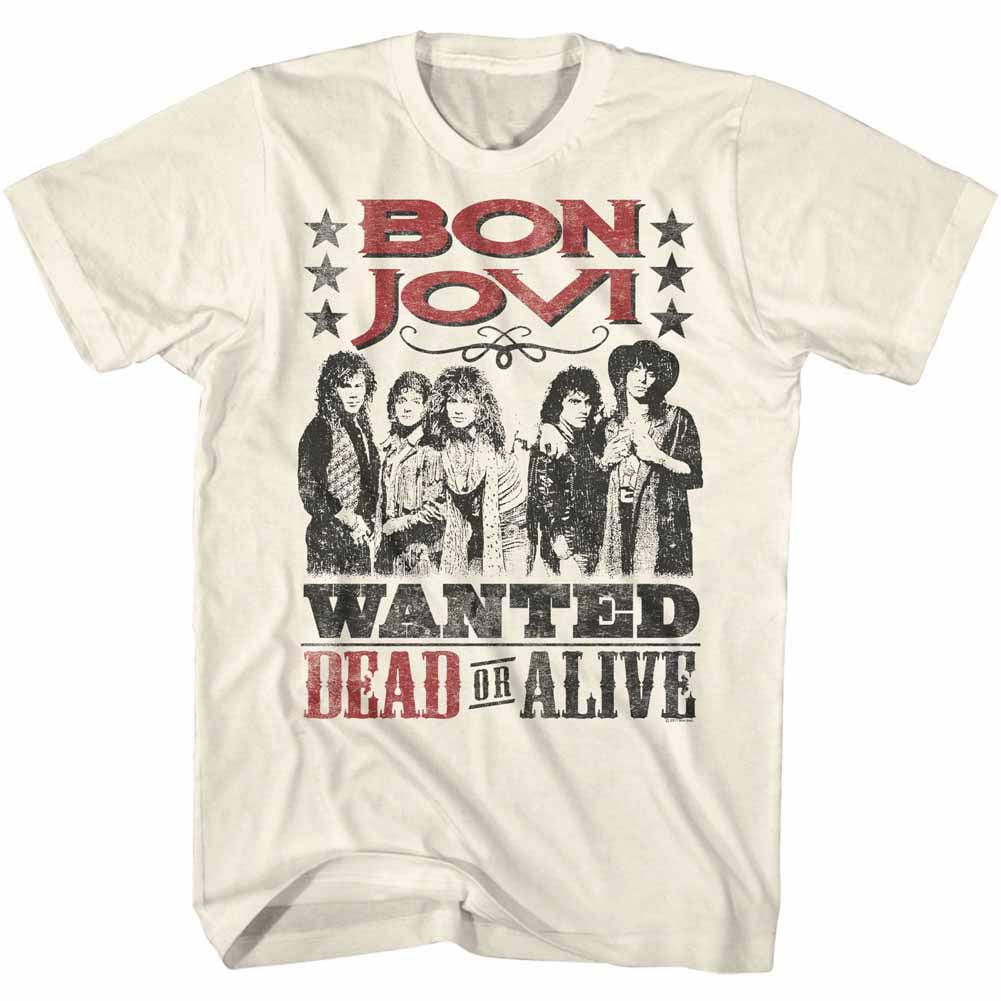 Bon Jovi Rock Band Dead Or Alive Natural Adult T-Shirt Tee - image 1 de 1