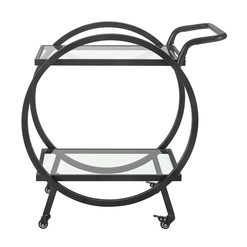 """Pemberly Row 32"""" Round Frame Serving Bar Cart in Black"""