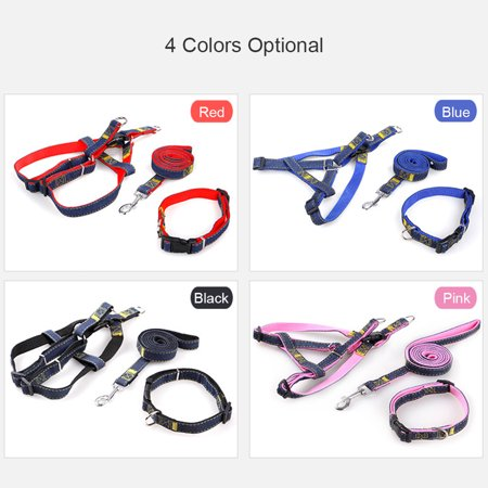 3pcs/Set Denim Heavy Duty Pet Dog Collar Leash Adjustable Harness 1.2m Traction Rope Leash for Small/Medium/Large Dogs for Daily Training Walking Running - image 6 of 7