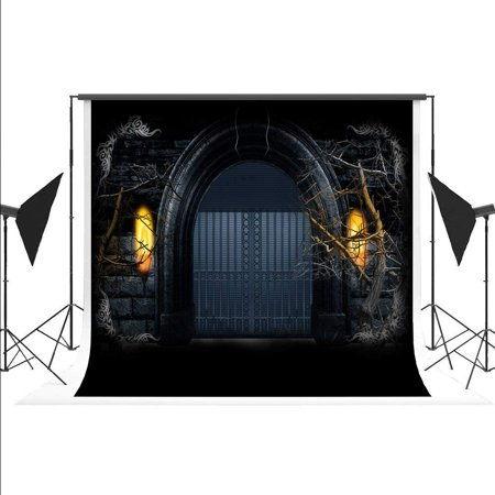 ABPHOTO Polyester Backdrop for Photography Halloween Photographic Background Black Arch Foto for Cosplay Fond Studio Photos Photoshoot 7x5ft