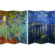 Oriental Furniture 6 ft. Tall Double Sided Works of Van Gogh Canvas Room Divider, 4 Panel