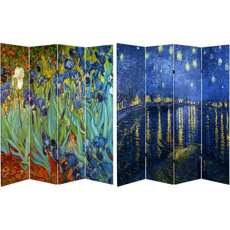 6' Tall Double Sided Works of Van Gogh Canvas Room Divider, Irises/Starry Night Over Rhone - Carpet Dividers