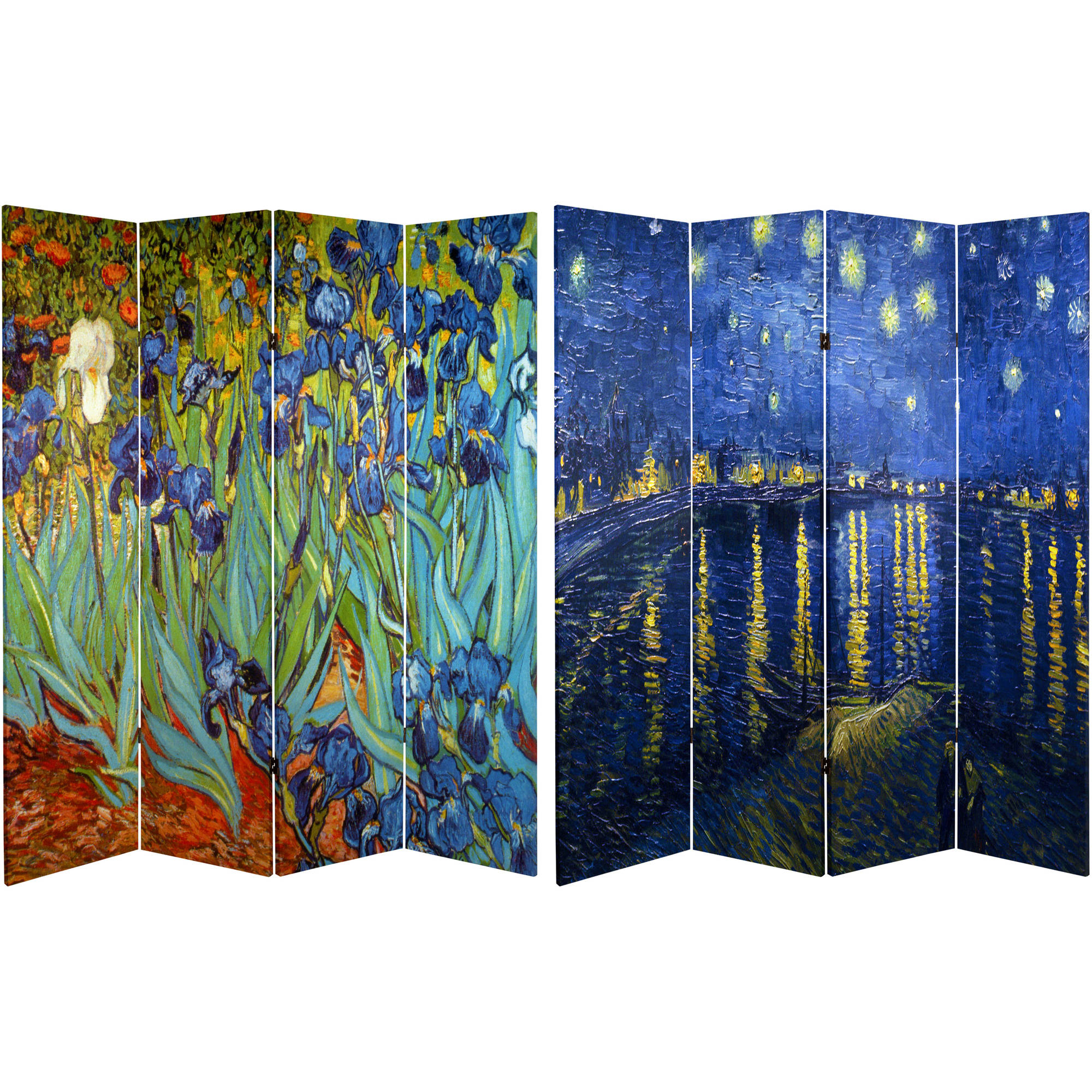 6' Tall Double Sided Works of Van Gogh Canvas Room Divider, Irises/Starry Night Over Rhone