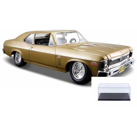 Diecast Car & Display Case Package - 1970 Chevy Nova SS Hard Top, Metallic Gold - Maisto 31262G - 1/24 Scale Diecast Model Toy Car w/Display
