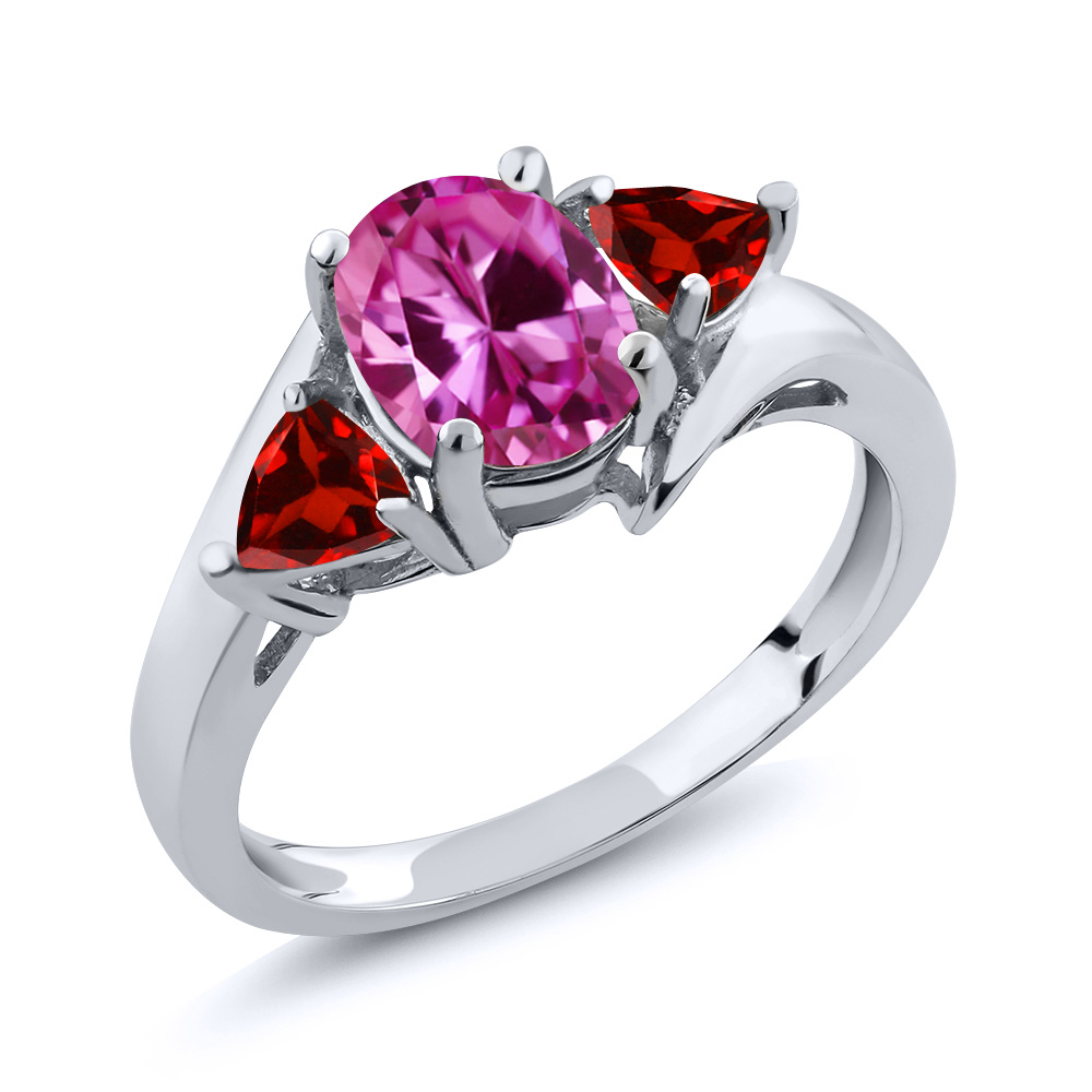 2.33 Ct Oval Pink Created Sapphire Red Garnet 18K White Gold Ring by