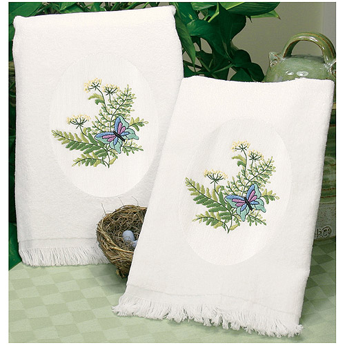 "Dimensions ""Botanical Butterflies"" Guest Towels Stamped Embroidery, 16"" x 26"""
