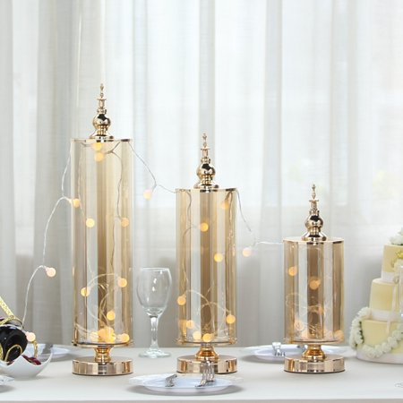 Efavormart Set of 3 | Gold Metal Hurricane Table Centerpiece Jar With Glass Tube & Metal Top - 14"