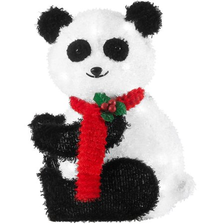 Holiday Time 22-Inch Light-Up Fluffy Panda, Red Scarf with 20 Lights