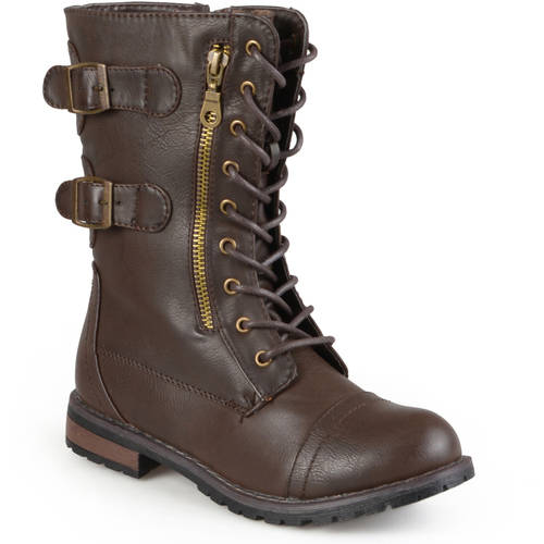 Brinley Co Womens Buckle Detail Lace-up Boots