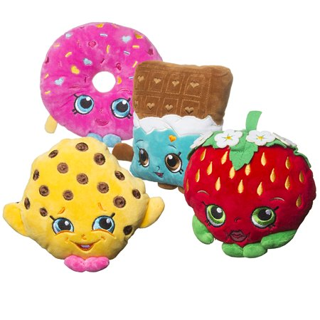 4 Pack Shopkins Plush Toys Strawberry Kiss Kooky Cookie DLish Donut Cheeky Chocolate Limited