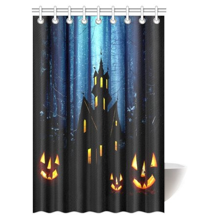 Treats For Kids Halloween Party (MYPOP Halloween Decorations Shower Curtain, Gothic Scene With Halloween Haunted House Party Decor Trick Or Treat For Kids Fabric Bathroom Decor Set with Hooks, 48 X 72)