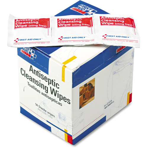 First Aid Only Antiseptic Cleansing Wipes, 50 count
