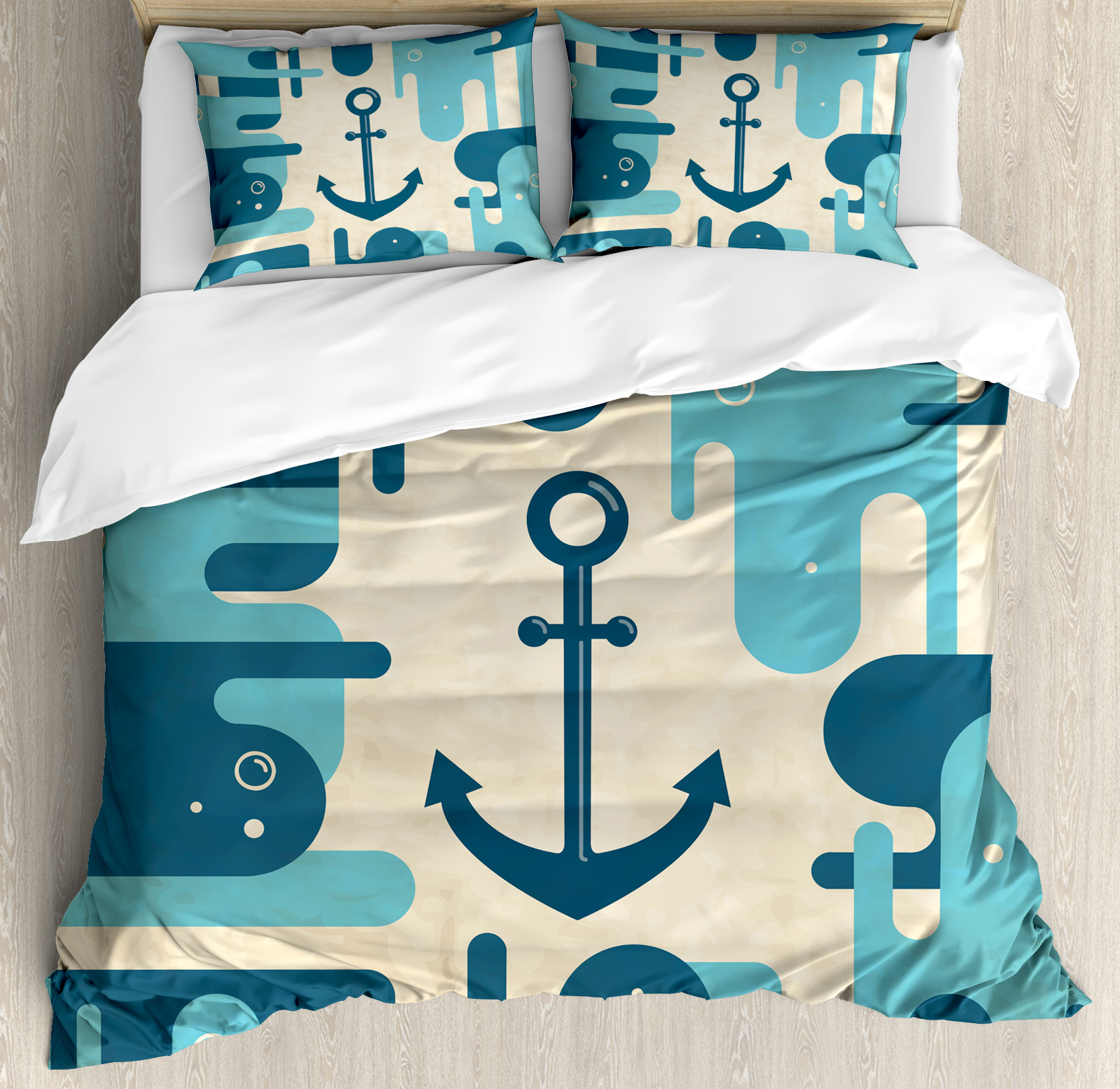 Anchor Queen Size Duvet Cover Set, Nautical Sea Inspired Abstract Design with Bubble Like Shapes Retro, Decorative 3 Piece Bedding Set with 2 Pillow Shams, Cream Pale Blue Dark Blue, by Ambesonne