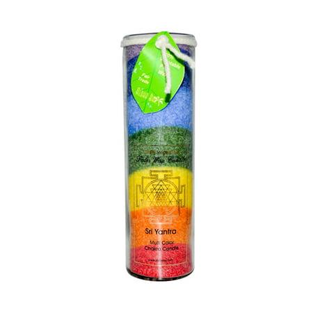 Aloha Bay Sri Yantra Rainbow Chakra Jar Candle, Unscented  - 16 (Gardenia 16 Oz Jar)