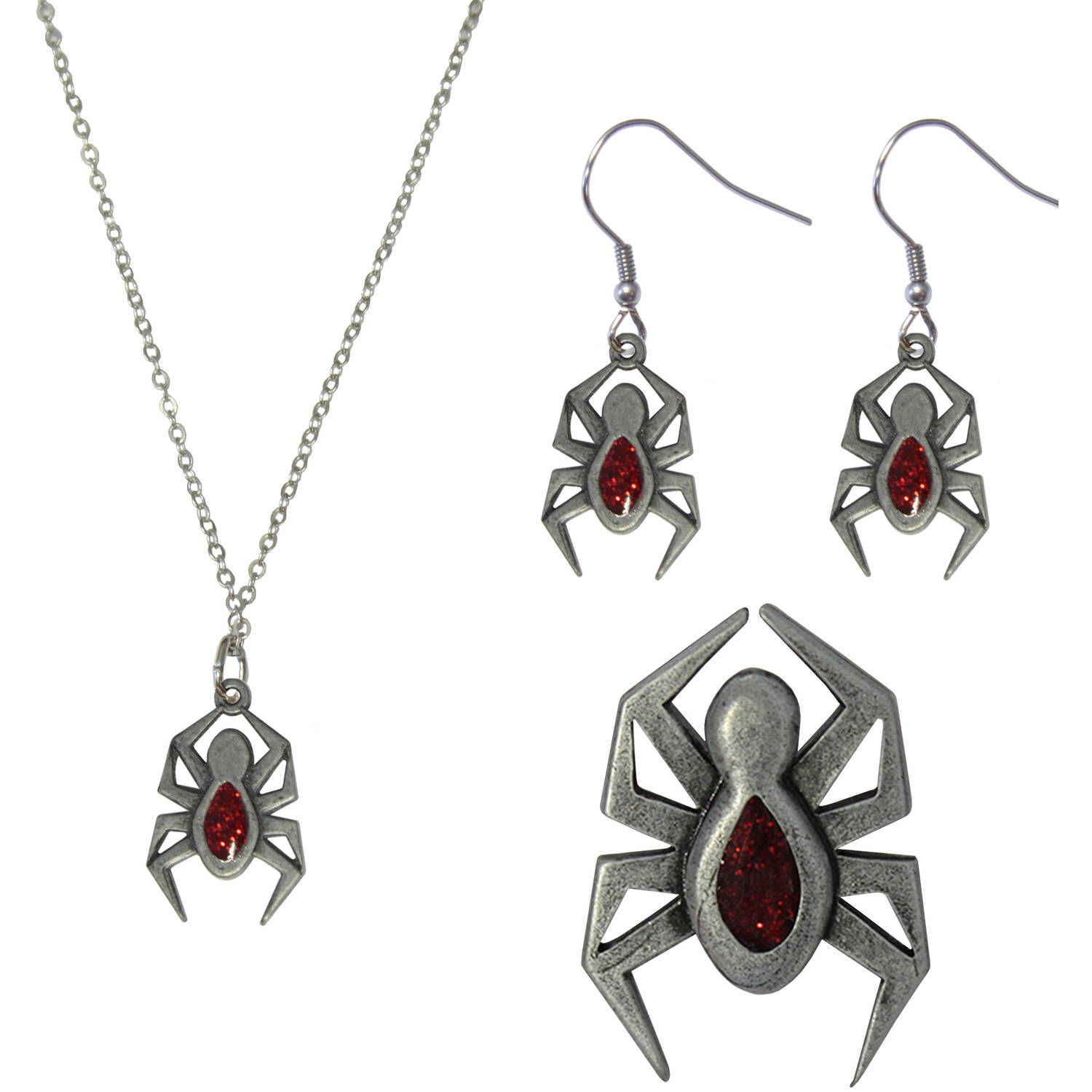 Gloria Duchin Spider Necklace, Earrings and Pin Jewelry Set