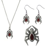 Spider Necklace, Earrings and Pin Jewelry Set