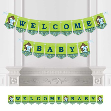 Bunting Buy Online (Boy Puppy Dog - Baby Shower Bunting Banner - Blue Party Decorations - Welcome)