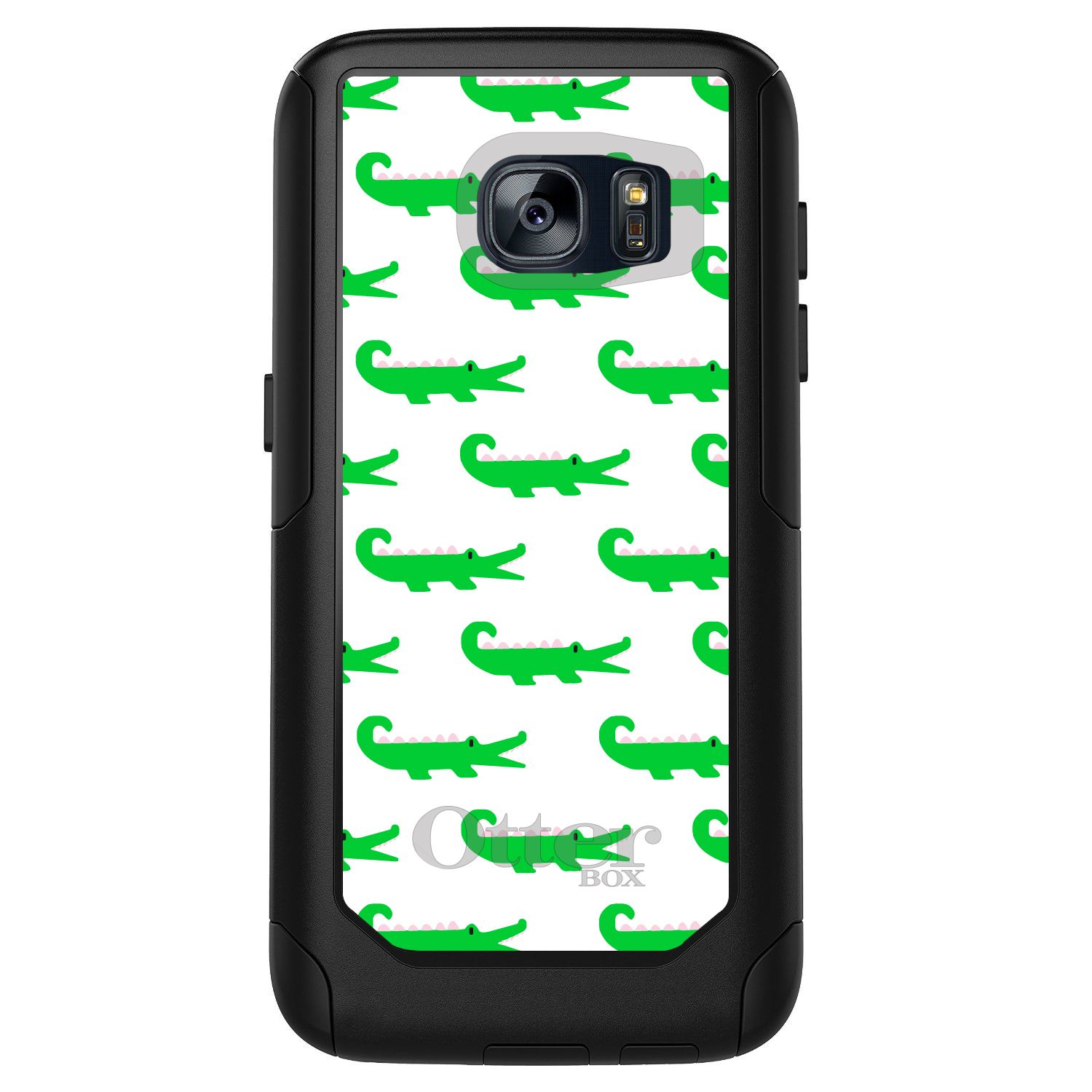 DistinctInk™ Custom Black OtterBox Commuter Series Case for Samsung Galaxy S7 - Green White Alligators