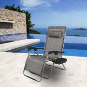 24'' Widened Zero Gravity Chairs, Outdoor Chaise Lounges with Drink Holderfor Teens, Folding Lawn Chair Recliners with Removable Headrest for Outdoor, Patio, Pool, Camping, Beach, 350 LBS, Grey, S1616