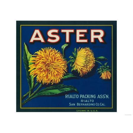 Aster Brand Citrus Crate Label - San Bernardino, CA Print Wall Art By Lantern