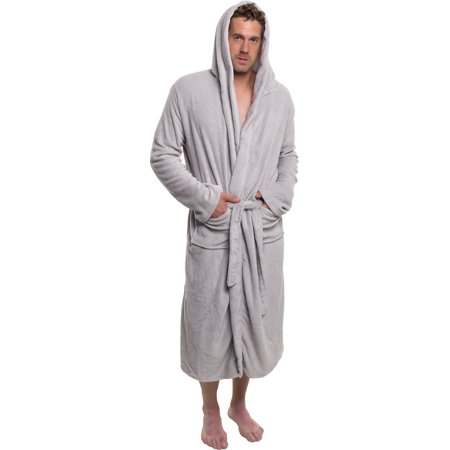 7d9799d090 Ross Michaels - Ross Michaels Mens Plush Shawl Kimono Hooded Bath Robe  (Light Grey