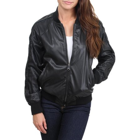 Nanette Lepore Womens Faux Leather Fashion Bomber Jacket