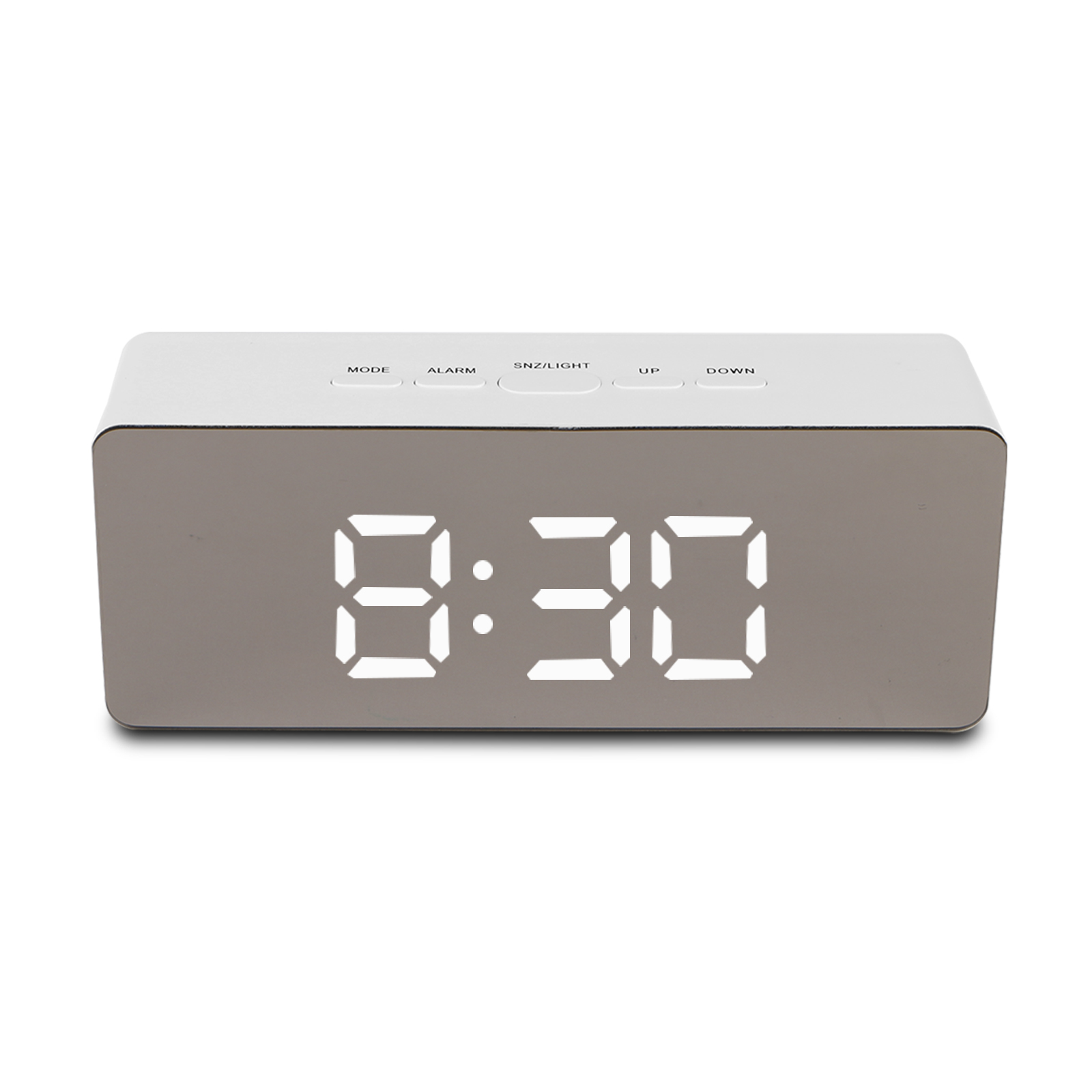 TSV Alarm Clock Large Digital LED Display Portable Modern Battery Operated  Mirror Clock USB Powered Smart Snooze Multi-function Time Temperature White