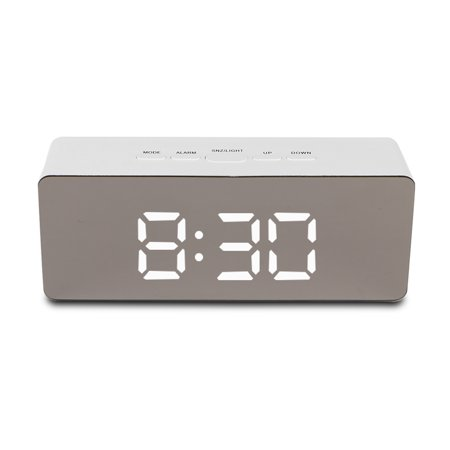 TSV Alarm Clock Large Digital LED Display Portable Modern Battery Operated Mirror Clock USB Powered Smart Snooze Multi-function Time Temperature Fits for Office Bedroom Dormitory Travel -