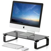 FITUEYES Computer Monitor Riser Desktop Stand with keybroad storage space Tempered Glass DT106005GB