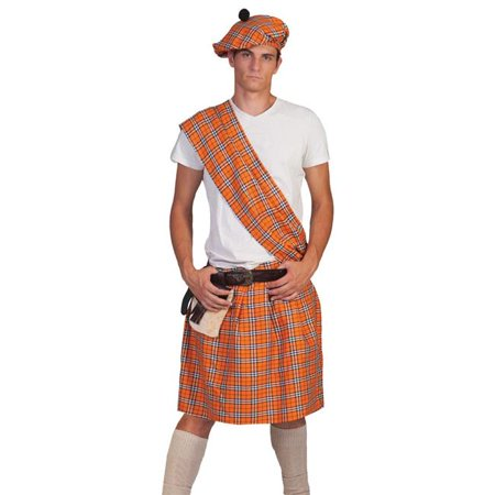 Funny Fashions FF601202 Orange Plaid Highlander Adult Costume - One Size 40-44 - image 1 de 1