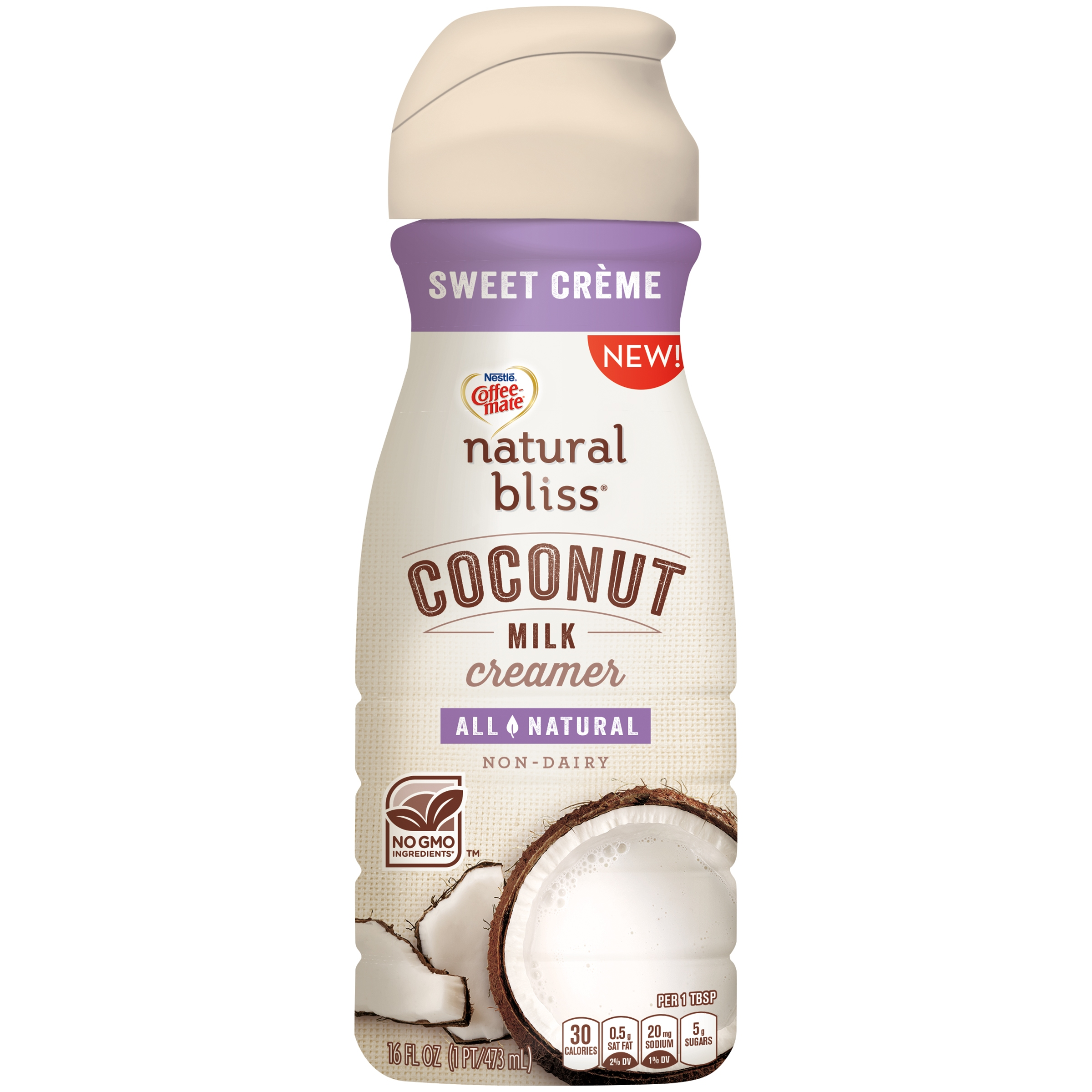 Coffee-Mate Natural Bliss All Natural Coconut Milk Sweet Creme Liquid Coffee Creamer, 16 oz